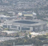 Twickenham Stadium, the home of England Rugby, with The Stoop, home to the Harlequins rugby union club in the background, as seen from my flight from Chicago on its final approach to London Heathrow in August 2018.