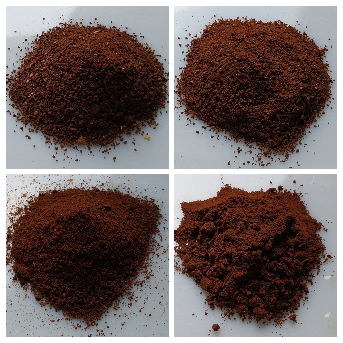 A comparison of different grind sizes from coarse (top left) to very fine (bottom right). The first three are ground with my feldgrind hand grinder: cafetiere (top left), V60 (top right), Aeropress (bottom left), while the fourth (bottom right) is my espresso grinder, ground for espresso in my Sage Barista Express.