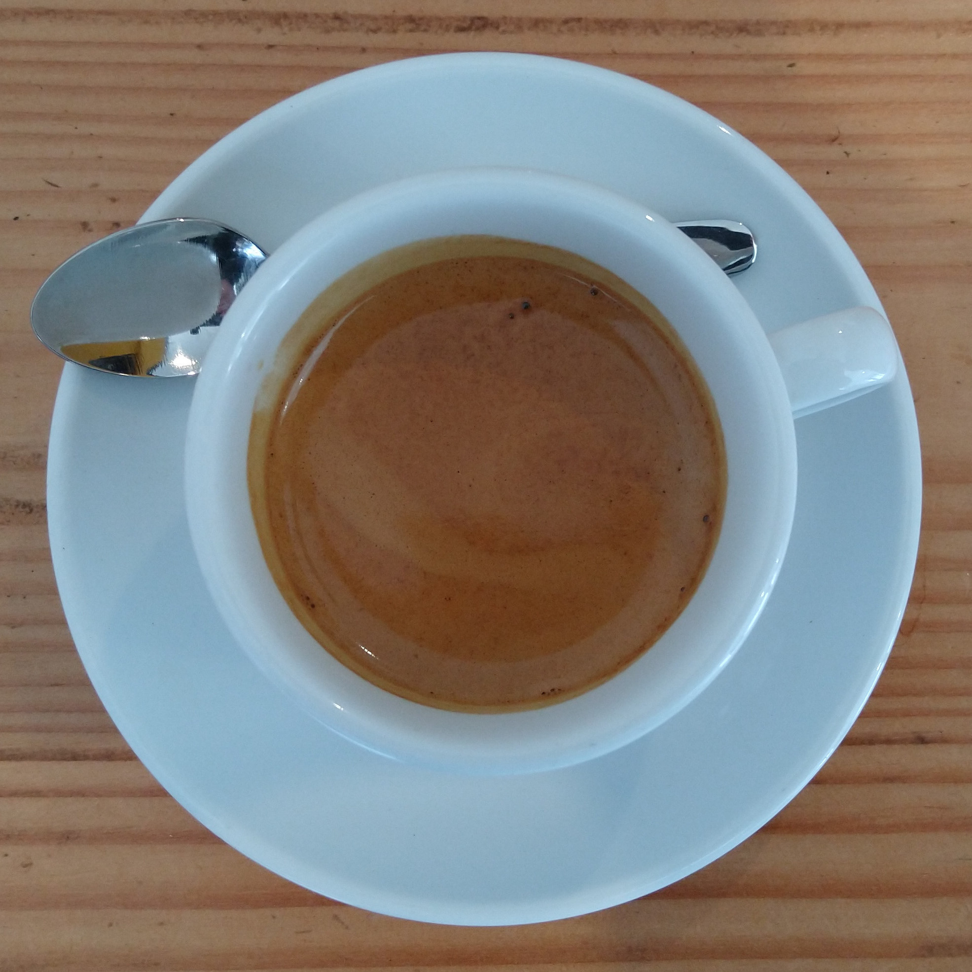 My espresso, a Colombian single-origin from Carlos Alberto Ulchur, roasted by Colonna Coffee and served in a classic white cup at Reference Coffee in Dublin.
