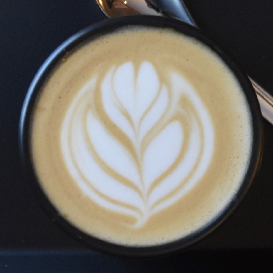 The rare the Eugenioides coffee species in a cortado at Terromoto Coffee in Chelsea, New York City.