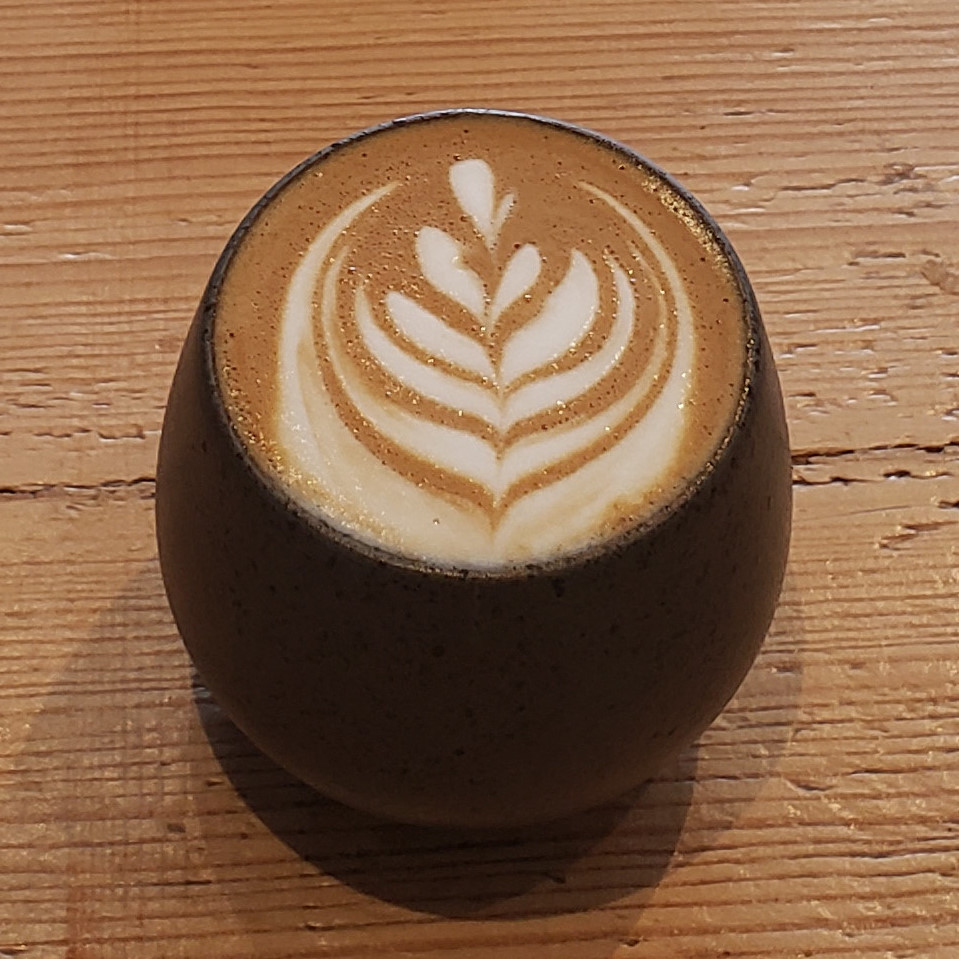 A lovely flat white, made with the Dark Horse blend from Quarter Horse, and served in a gorgeous, handleless cup at Whaletown Coffee Co. in Sheffield.