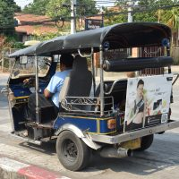 One of Chiang Mai's famous tuk-tuks, waiting for a ride outside my hotel. It was probably a tuc tuc that finally did for my back in the middle of my trip.