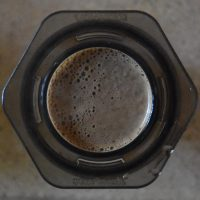 Coffee brewing in my AeroPress, using the inverted method, as seen from above.