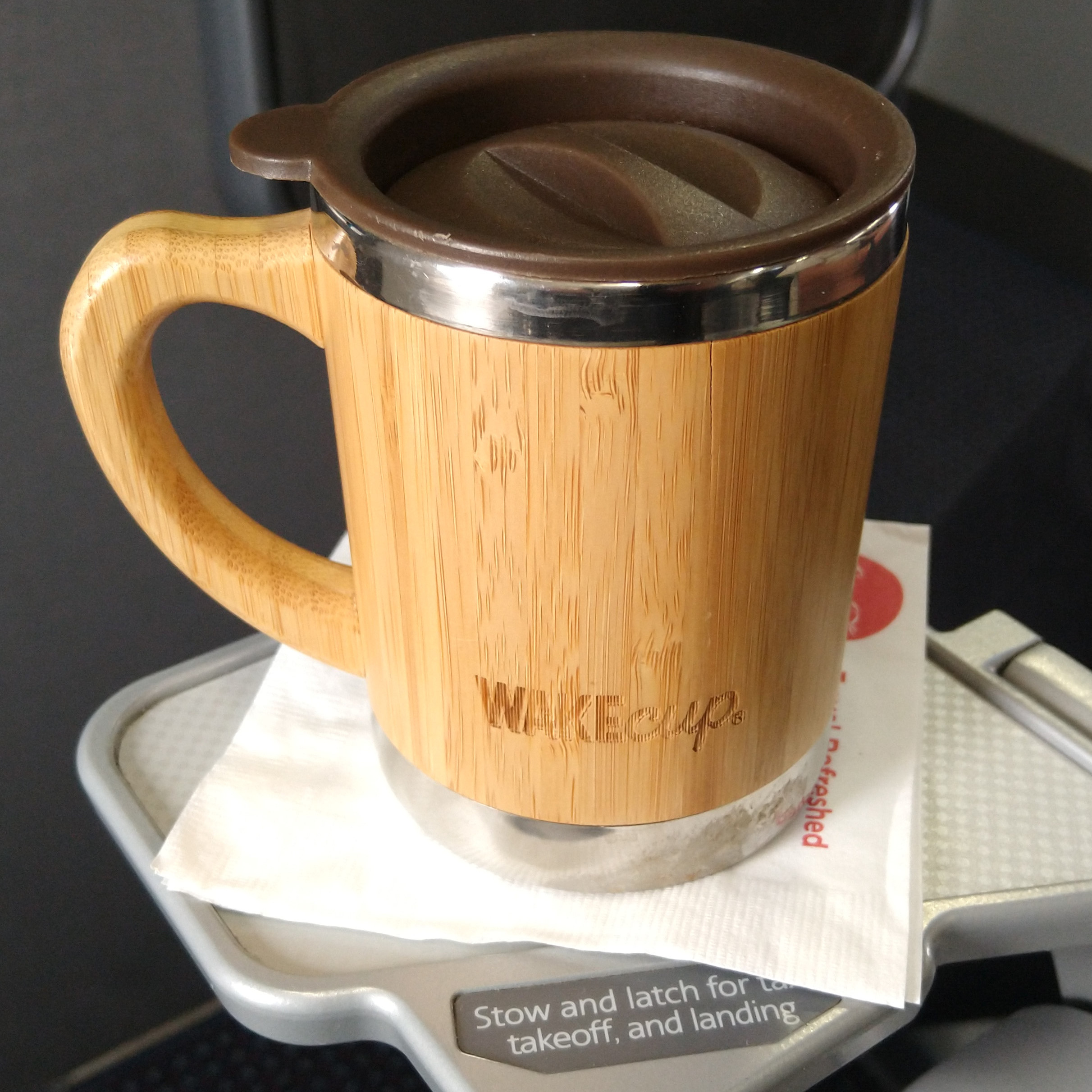 My Global WAKEcup, full of coffee I'd just made in the lounge and brought on the plane with me before my flight from Chicago to Boston.