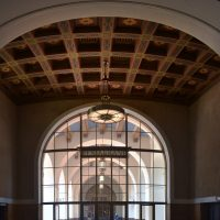 The glorious, vaulted ceilings of one of the old waiting rooms at Los Angeles' Union Station.
