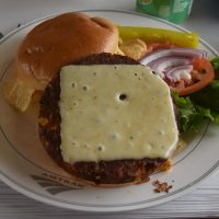 The black bean and corn veggie burger, from Amtrak's lunch menu, served on the California Zephyr, April 2019, en-route to Chicago.