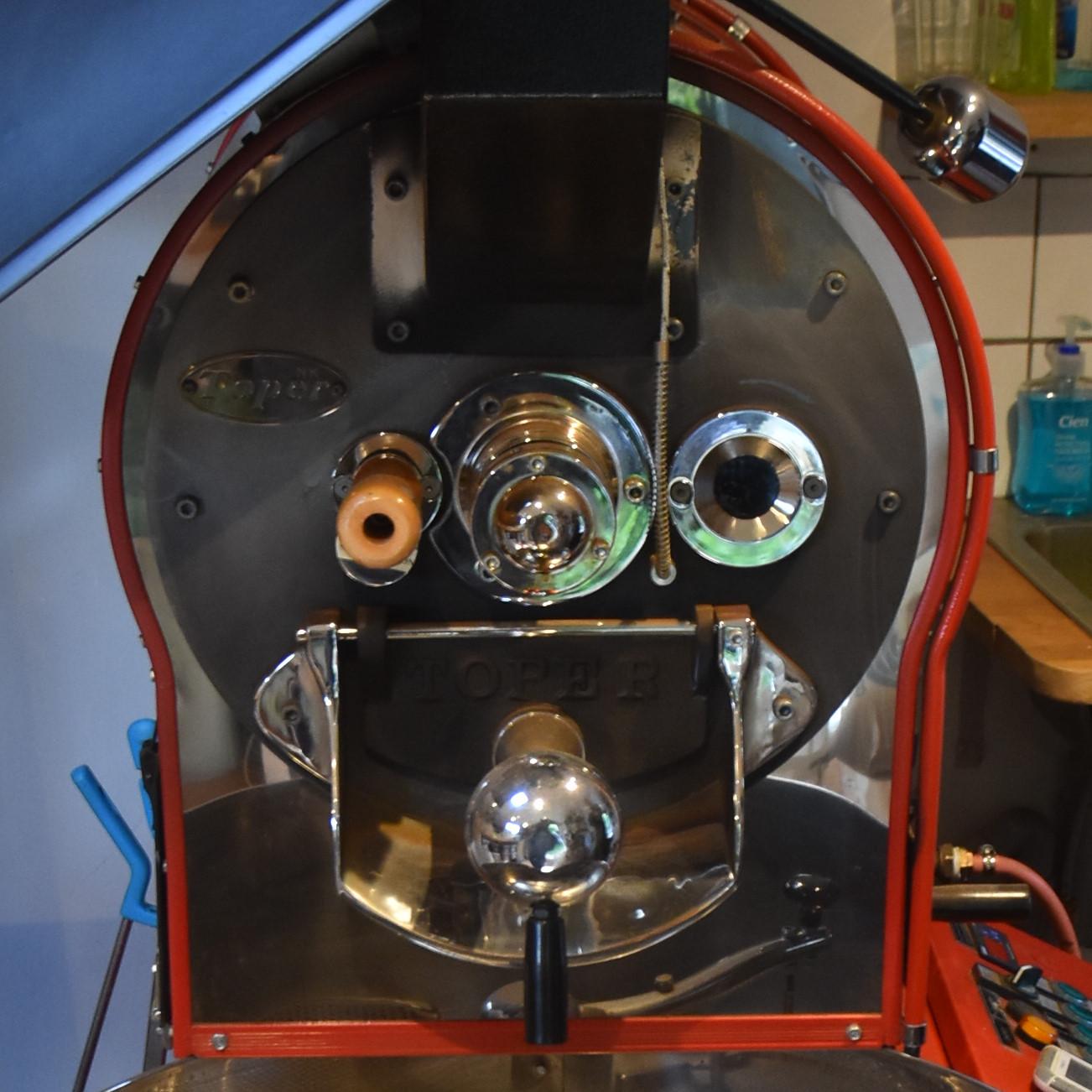The 10 kg Toper roaster in the Roastery Shack, Surrey Hills Coffee's bespoke roastery.