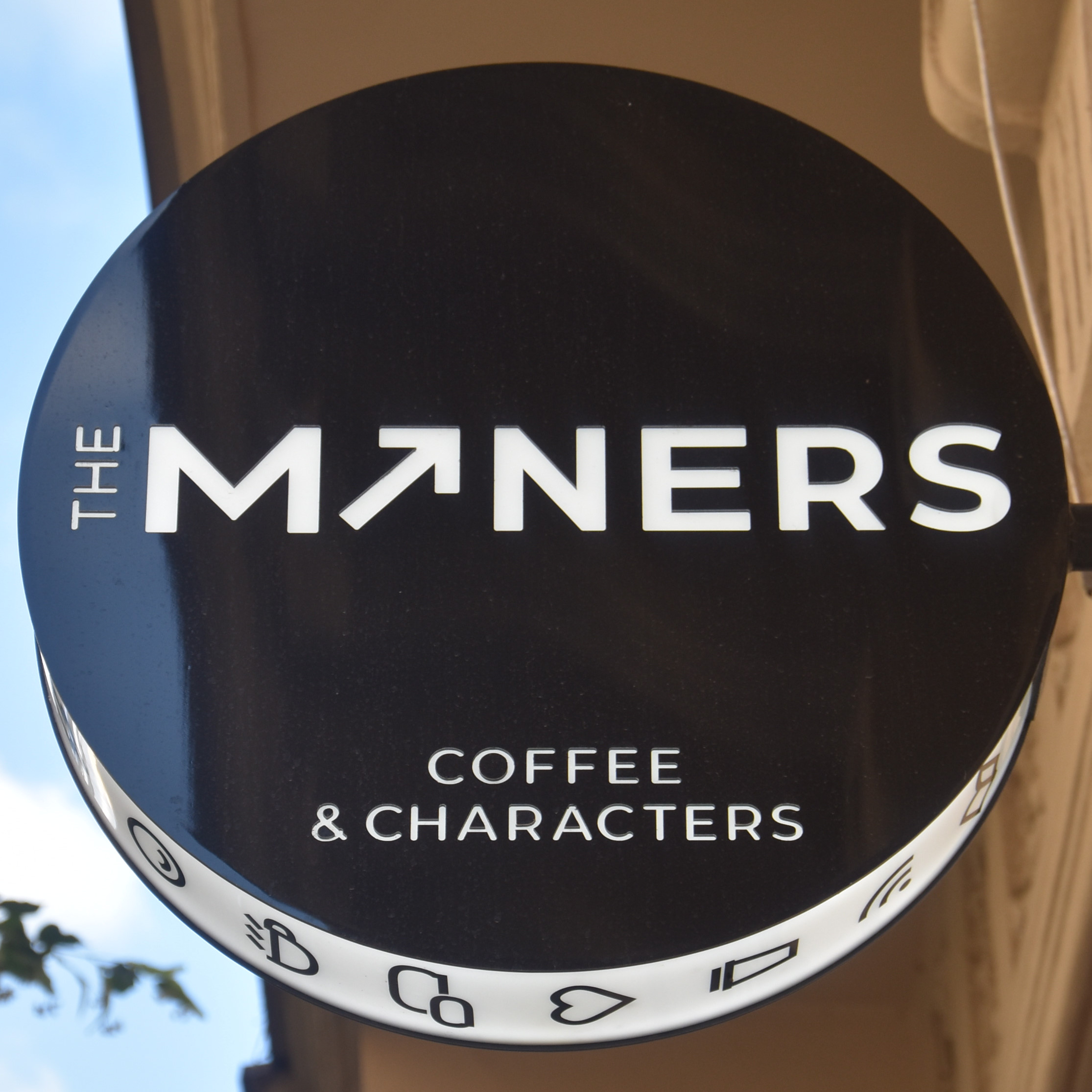 The sign from outside The Miners Coffee & Characters in Prague.