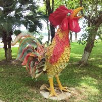 The things you find in Hue... A giant statue of a cockerel on the banks of the Perfume River.