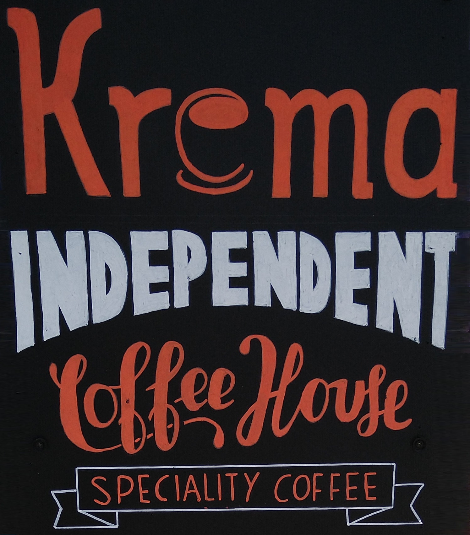 Details from the A-board outside Krema Coffee Guildford, now reopened for takeaway only.