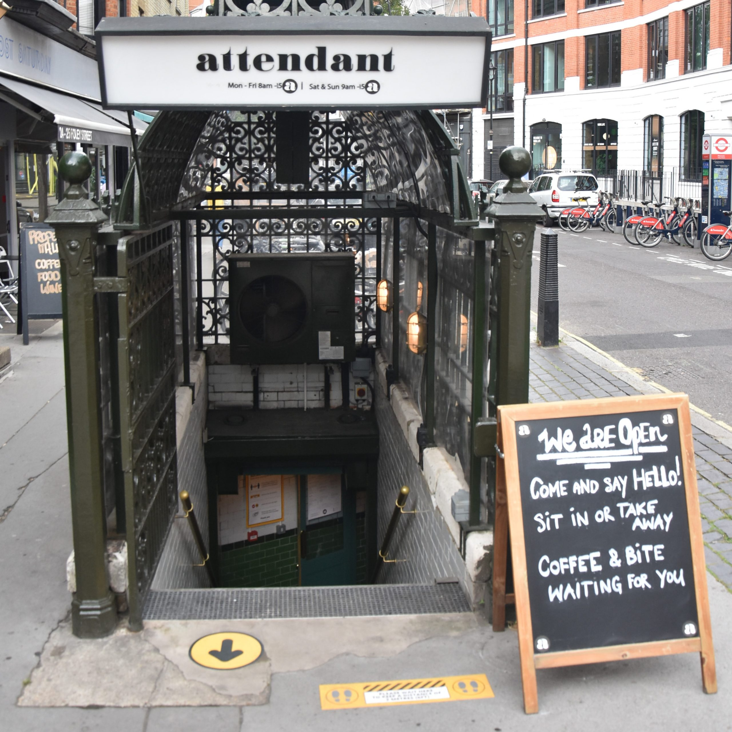 The entrance to Attendant on Foley Street in Fitzrovia, not long after reopening during the COVID-19 pandemic.