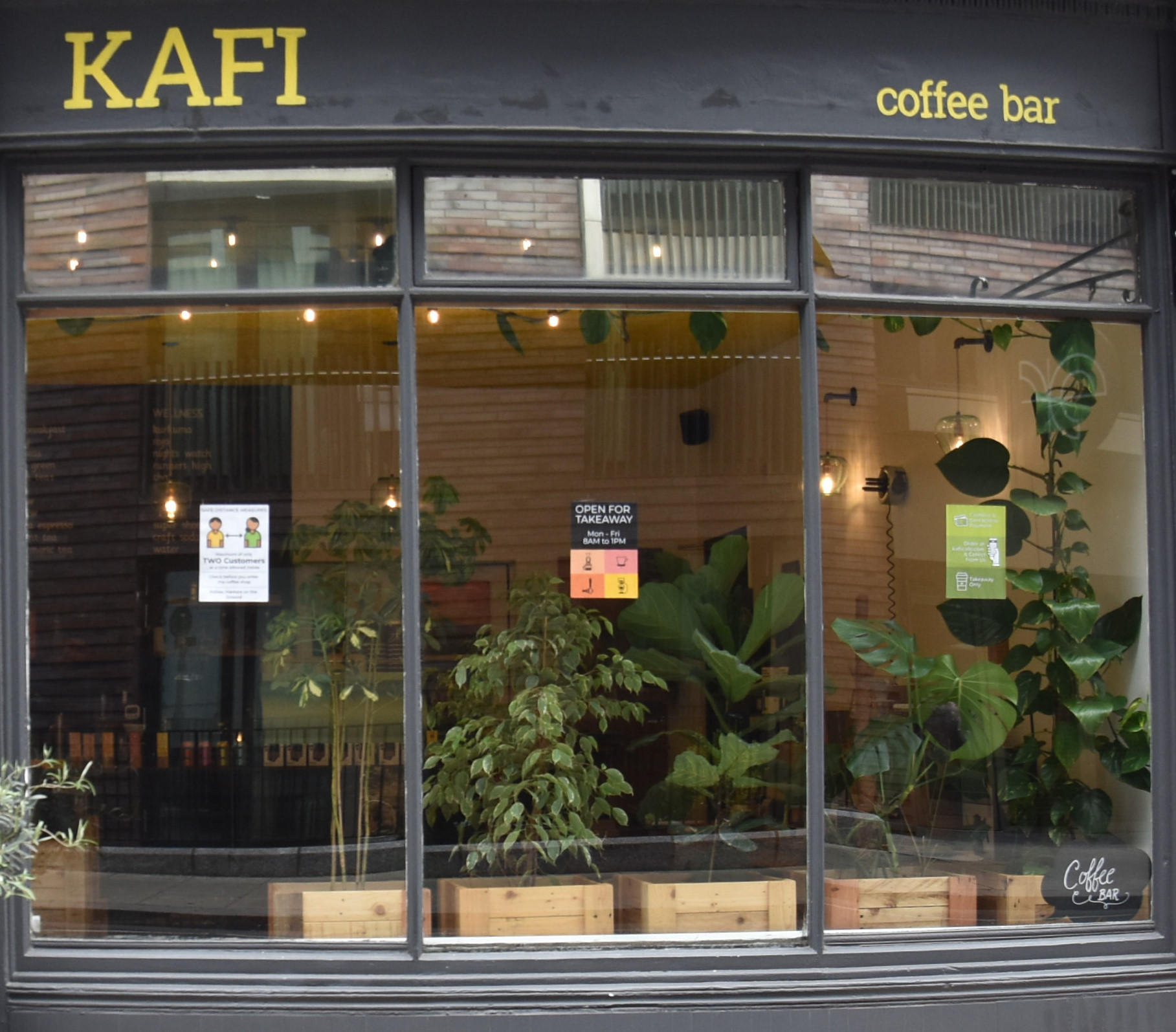 Kafi, in Fitzrovia, reborn as a takeaway-only coffee shop during COVID-19.