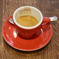 A shot of Origin's Resolute blend in a classic red cup in The Press Room, Surbiton.