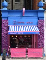 Coffee Addict On Vauxhall Bridge Road, sporting its new, pink colour scheme. It occupies the site of the original Costa Coffee, which opened in 1978 (Coffee Addict, in contrast, opened in 2019).