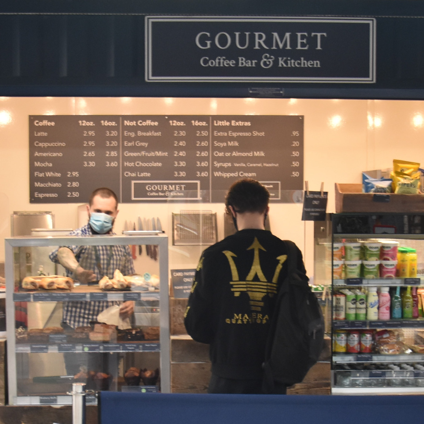 The front of the Gourmet Coffee Bar at the end of Platform 5 in Crewe Station, with its newly-installed Perspex screens, shortly after it reopened during the COVID-19 pandemic.