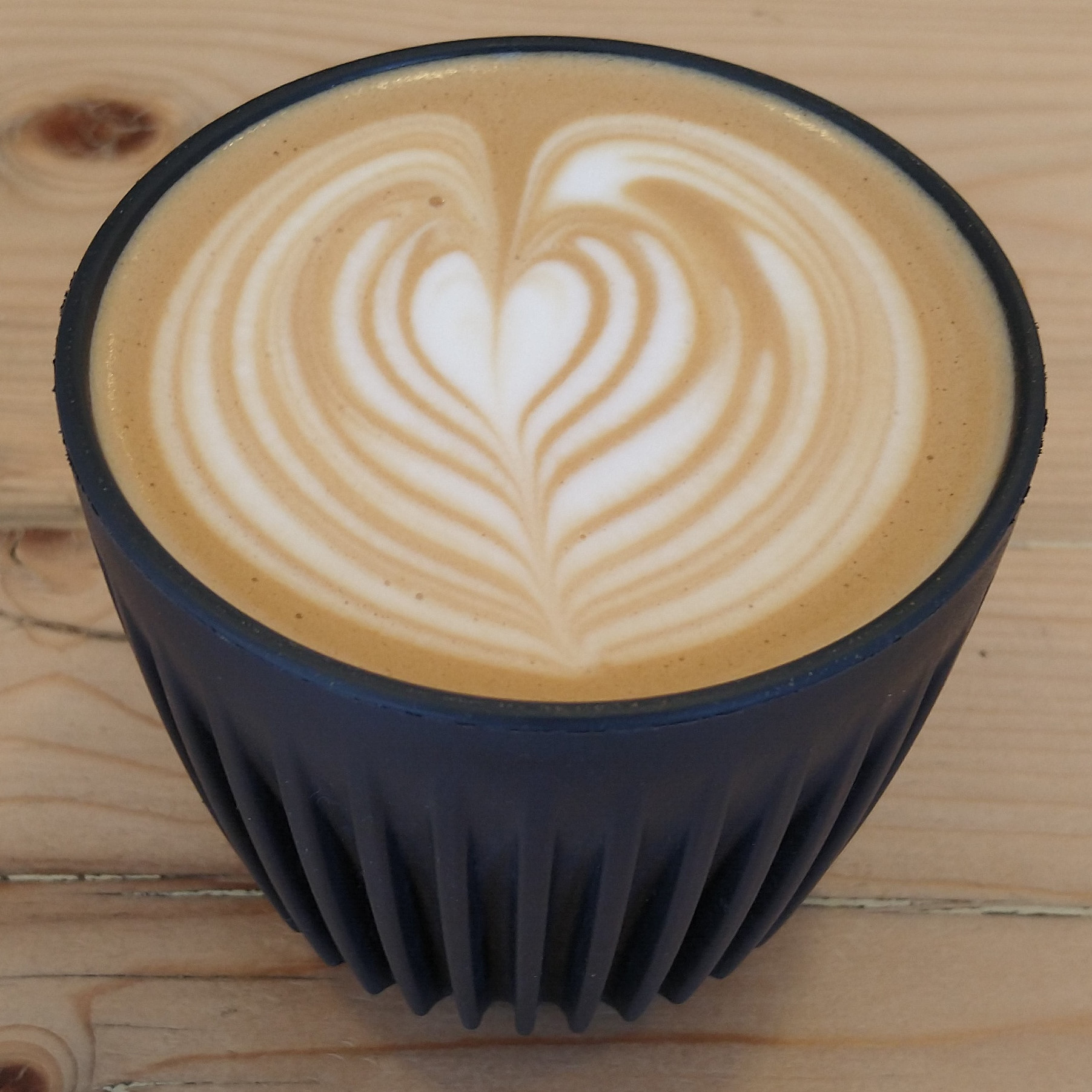 A flat white, made with the Arboretum Blend from Dark Woods and served in my HuskeeCup at Moss Coffee, Chester, one of the few times I've been able to use my own cup during COVID-19.