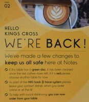 Notes is back! Details of the online ordering system, displayed on every table at Notes, King's Cross.