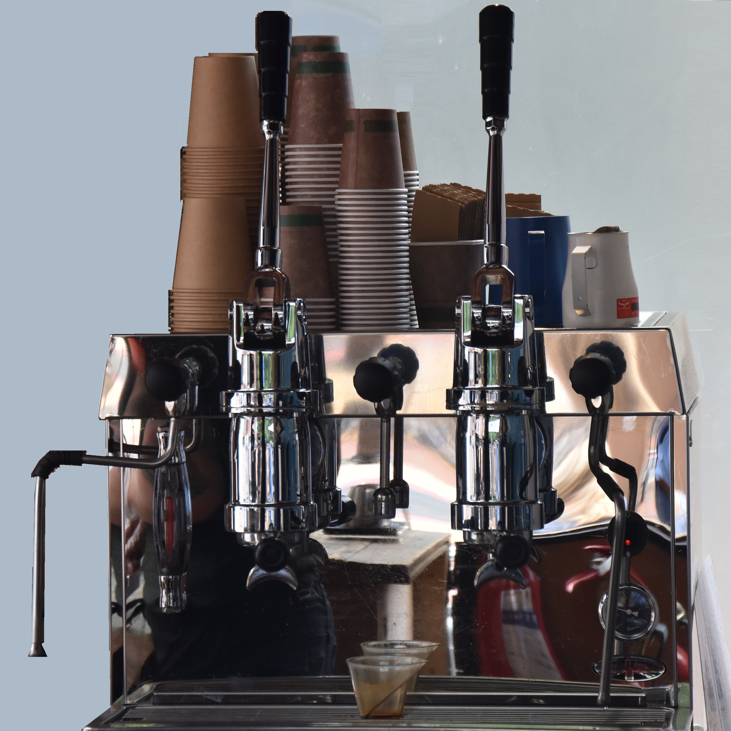 The two-group Francino lever espresso machine in the Tamp Culture kiosk in Reading.