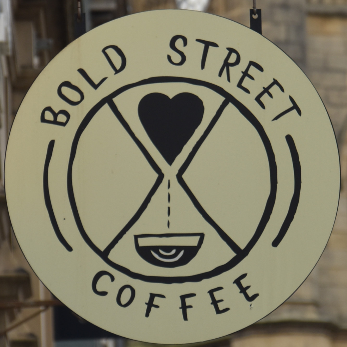 The Bold Street Coffee sign, back outside the shop on Bold Street, Liverpool.