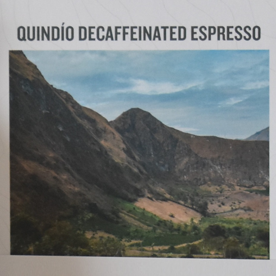 A picture of the Quindío region in Colombia, taken from an information card that came with Workshop Coffee's Quindío Decaffeinated Espresso.