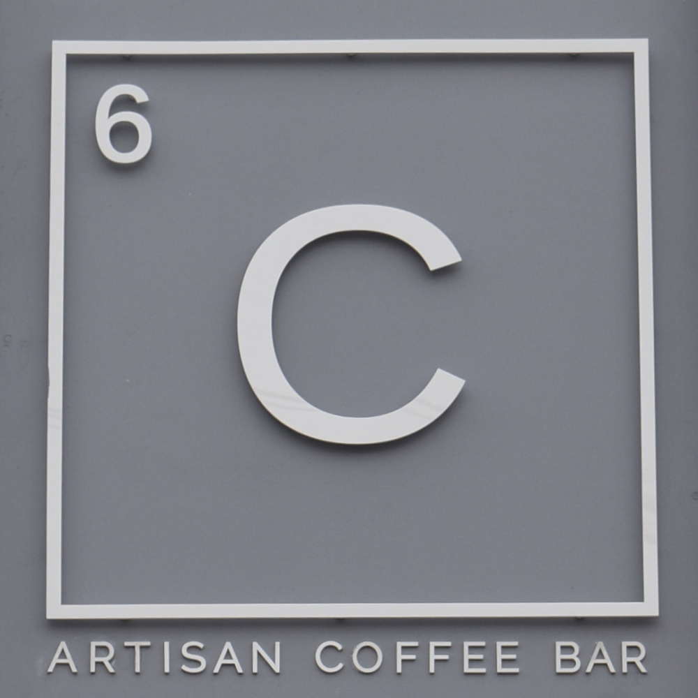 The Carbon Kopi logo from the sign above the door.