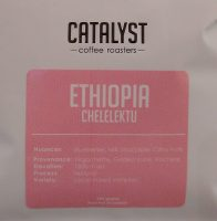 A bag of the Ethiopia Chelelektu from Catalyst Coffee Roasters, complete with tasting notes and details of the coffee and the farm.