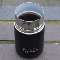 My new (and very stylish) Frank Green ceramic reusable cup in action outside Canopy Coffee in Guildford.