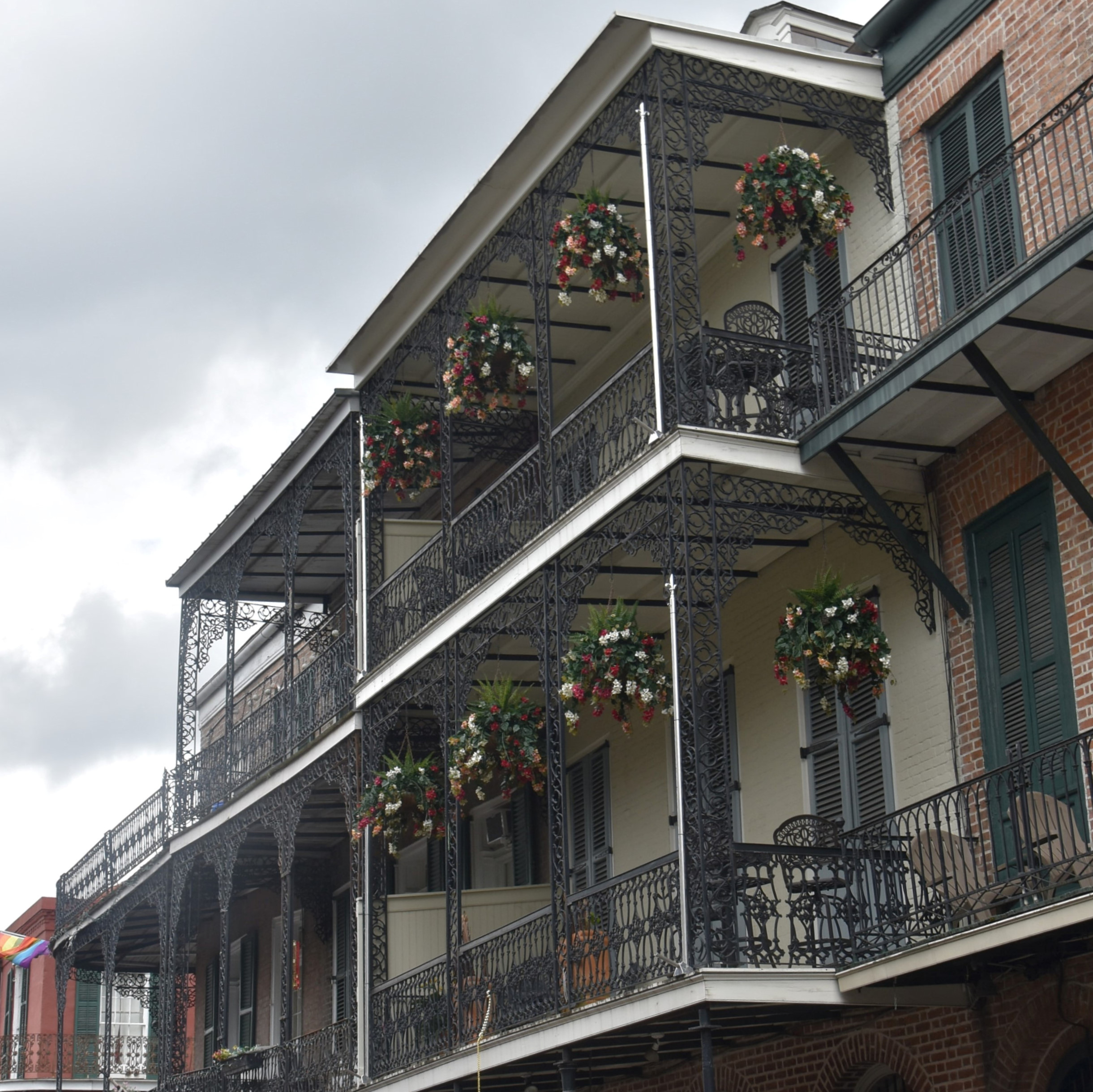 Traditional wrought iron balconies in the French Quarter of New Orleans.
