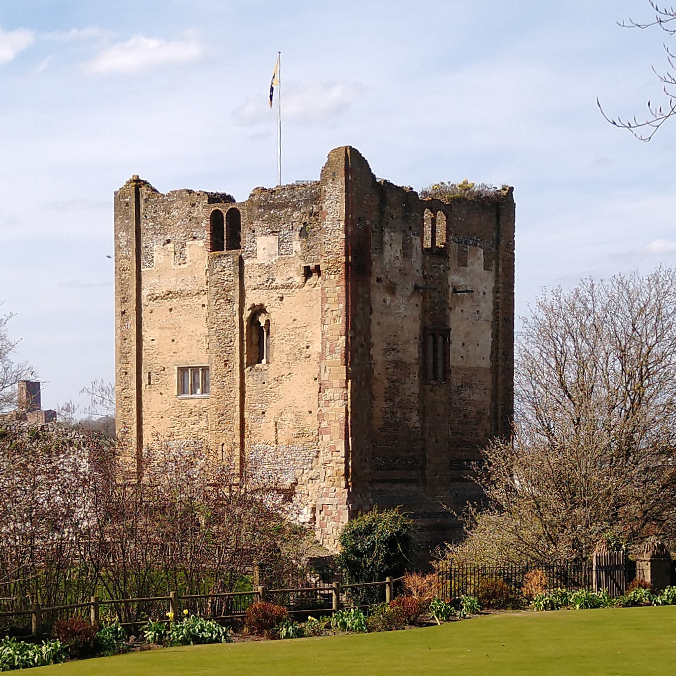 The keep of Guildford Castle, seen from the bowling green