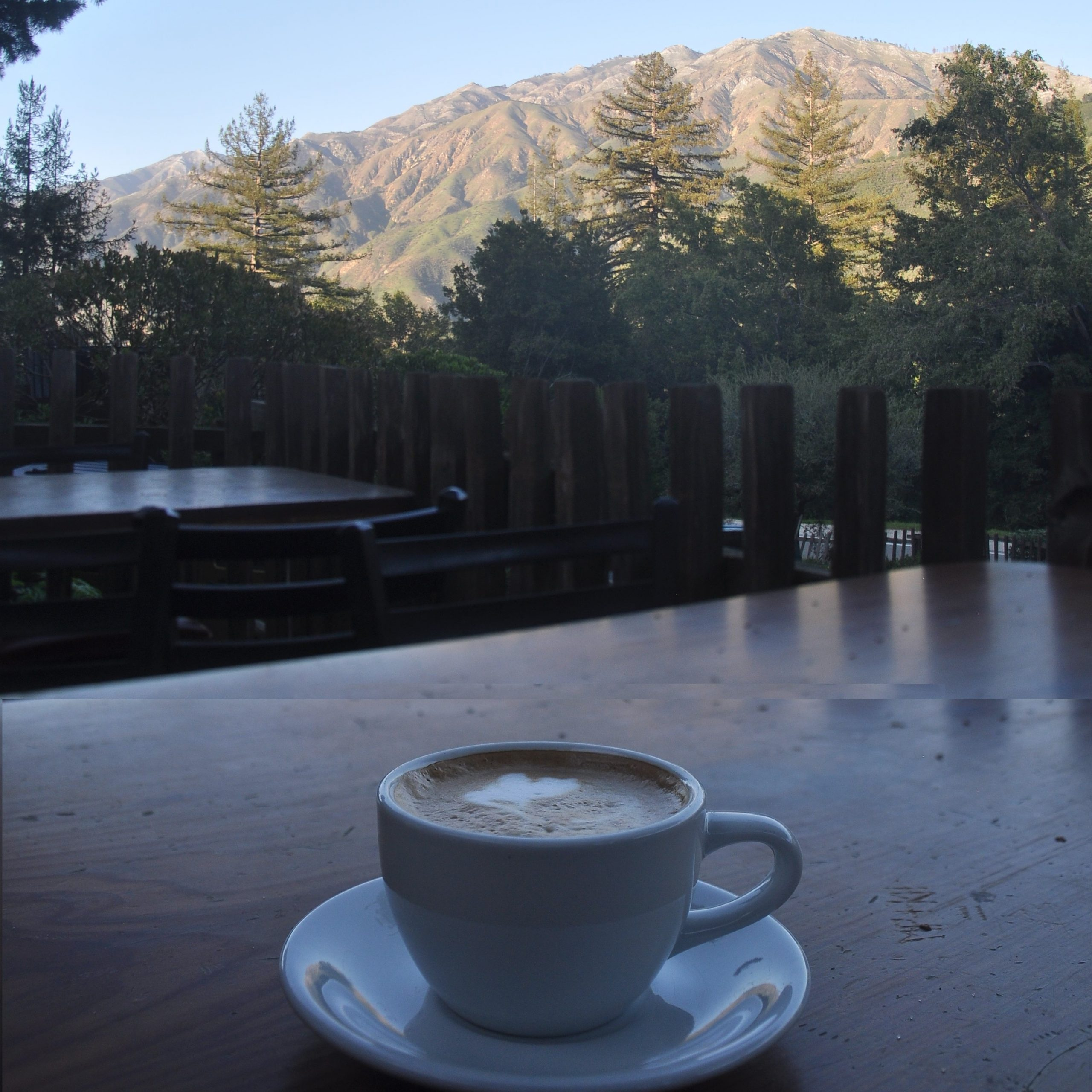 Enjoying a flat white at the Big Sur Bakery, looking out over the mountains of the Santa Lucia Range in January 2017.