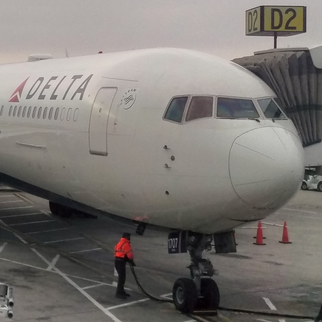 My Boeing 767-300ER from Delta on the stand at Salt Lake City, having brought me all the way from London Heathrow.