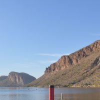 My Travel Press taking in the views on the Apache Trail, looking along the length of Canyon Lake from its eastern end.