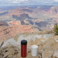 My coffee, in the shape of my Travel Press and Therma Cup, takes in the views from the South Rim of the Grand Canyon near the start of the Trail of Time.
