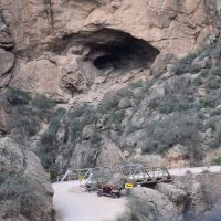 The Apache Trail in Arizona, crossing Fish Creek at the bottom of Fish Creek Canyon.