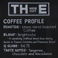 The coffee profile for the Brightnote blend from Union Hand-roasted, as served at The Hideout.