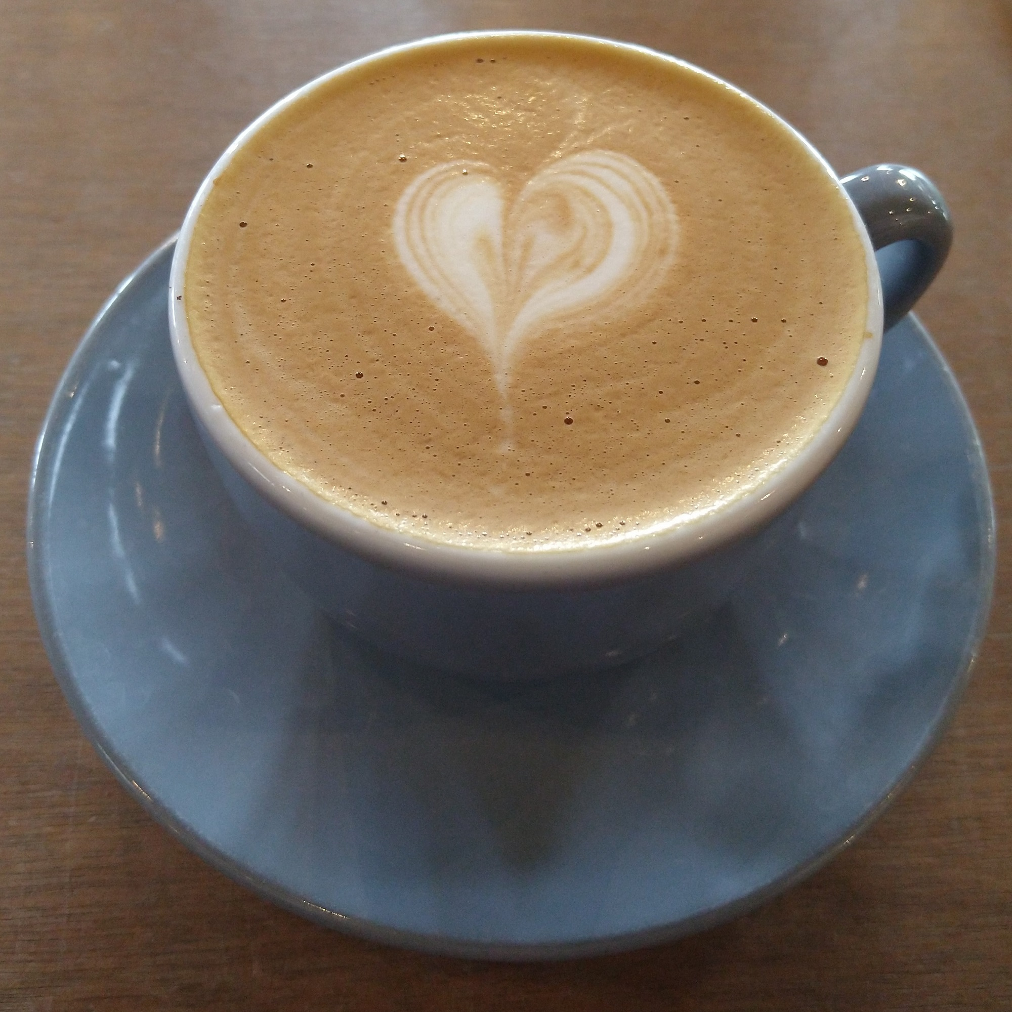 My flat white, made with the Jabbajaws blend at Coopers Roastery & Coffee Bar, served in a classic blue cup and enjoyed inside for the first time in 2021!