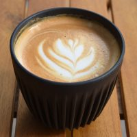 A flat white in my HuskeeCup at Electric Coffee Co. on Goldhawk Road
