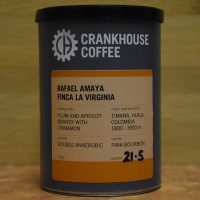 The front of a tin of coffee from Crankhouse Coffee, in this case the Finca La Virginia from Rafael Amaya in Timana in the Huila region of Colombia. It is a double anaerobic processed pink bourbon variety with tasting notes of plum and apricot brandy with cinnamon.
