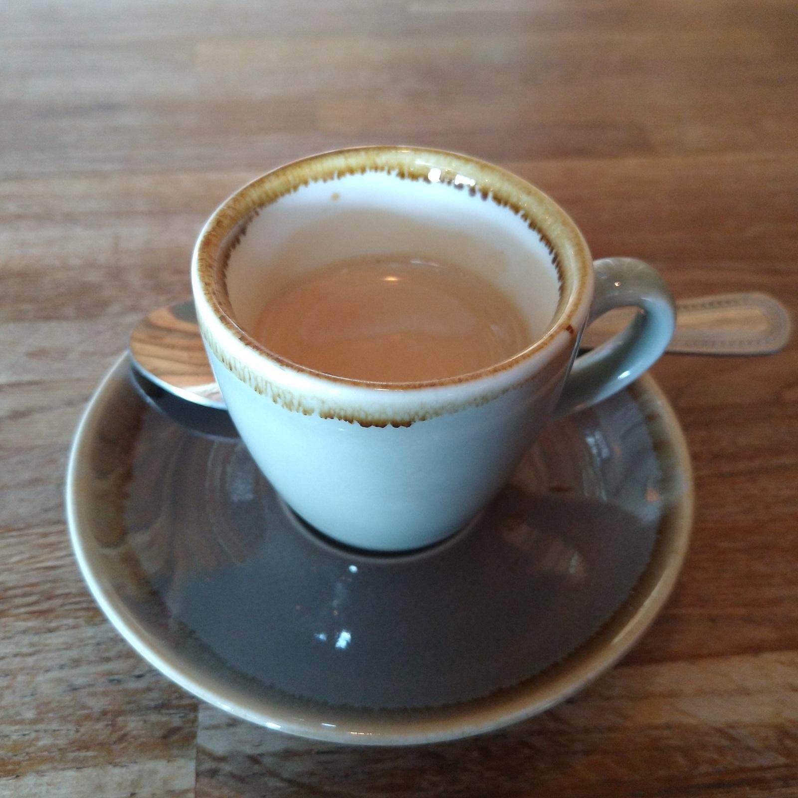 A classic espresso in a classic cup at Elephant Lounge in Parkgate.