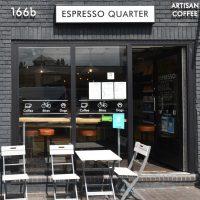 The sunlit front of Espresso Quarter in the Jewellery Quarter in Birmingham.