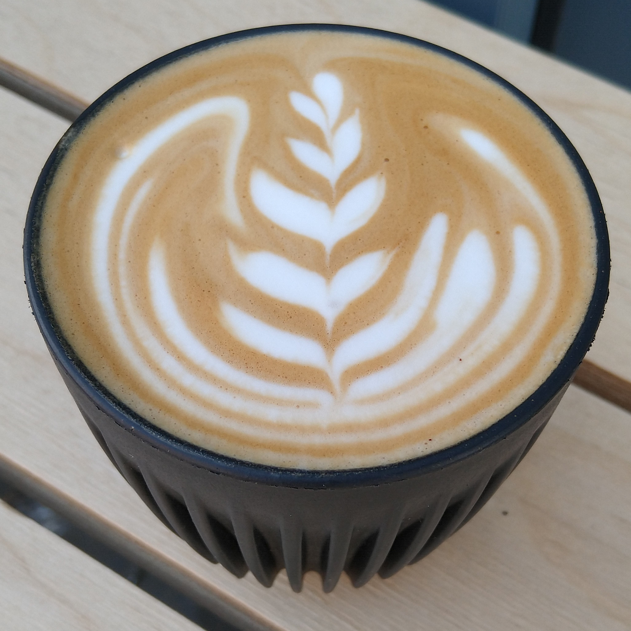 A flat white, made with the Dark Horse blend from Quarter Horse, and served in my HuskeeCup at Hatch in Birmingham.