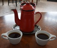 A pot of coffee for two (La Cascada from Colombia, made through the Kalita Wave), roasted and served at Reykjavik Roasters, Kárastígur