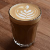A lovely piccolo, served in a glass and topped with some intricate latte art at Kookaburra Bakehouse in Chester.