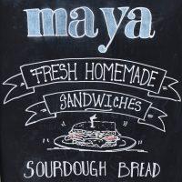 Detail from the A-board outside Maya in Weybridge, boasting fresh, homemade sandwiches and sourdough bread.