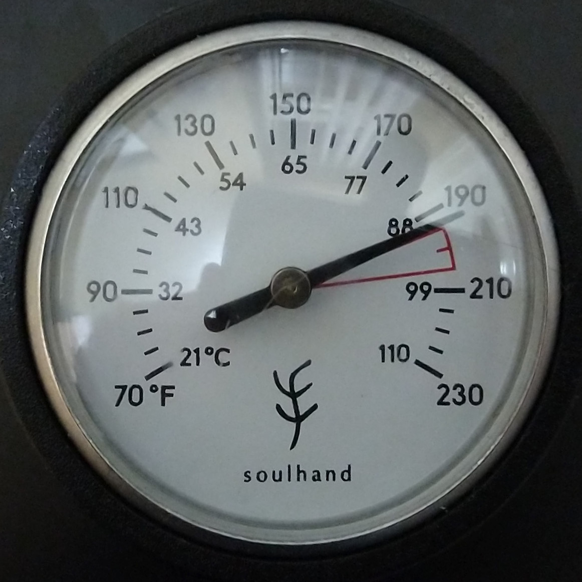 """The thermometer on my Soulhand gooseneck kettle, showing just below the """"ideal"""" pour-over range (marked in red)."""