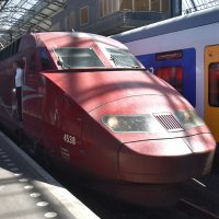 The front power car, No 4538, of a Thalys TGV-R waiting at Amsterdam Centraal before the start of its journey to Lille-Europe in June 2018.