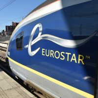 Eurostar e320 No. 4025 sitting at the sunny end of the platform of St Pancras International in June 2018, waiting to take me to Amsterdam.