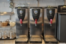 The three different boilers, all at different temperatures for the different types of tea