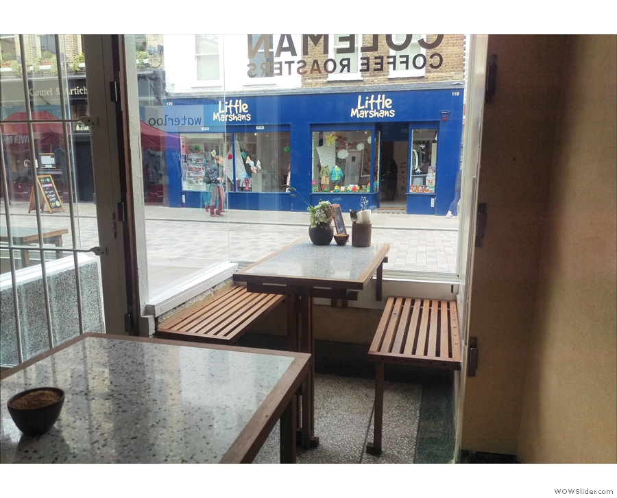 ... while the bay window to the left is occupied by this table and benches.