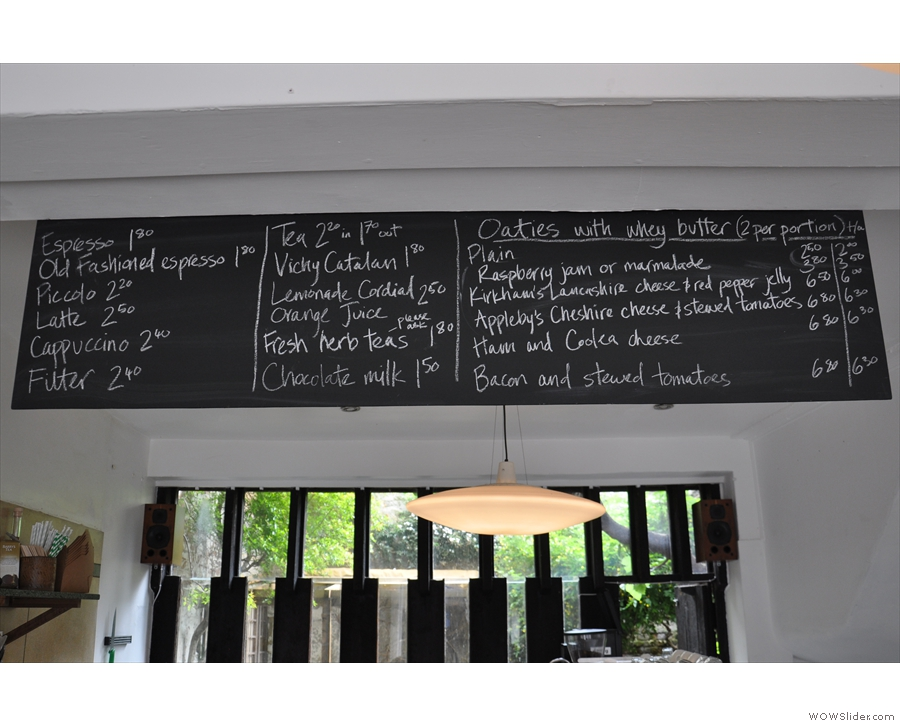 Meanwhile, the menu is chalked up on the board above the counter.